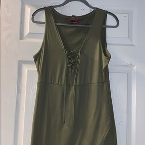 Dresses & Skirts - Green Lace-Up Dress